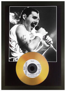 FREDDIE MERCURY QUEEN SIGNED PHOTO GOLD CD DISC COLLECTABLE GIFT MEMORABILIA