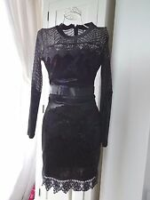 Topshop steampunk gothic lace velveteen dress uk size 10 black