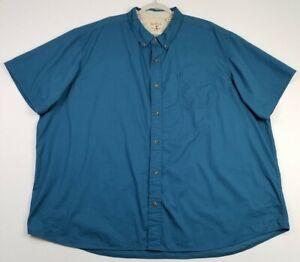 RedHead Men's Short Sleeve Button Up Shirt 4XL Solid Blue Pocket Casual Cotton