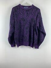 Womens Ladies Knit Sweater Floral Purple/black Mix Steel Fashion Size L UK