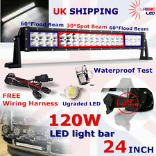 "24"" LED 120W Light Bar With Cables for Landrover Defender 4x4 Jeep Wrangler CE"
