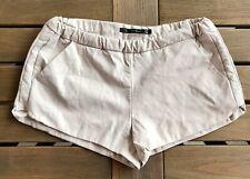 ZARA Trafaluc Sz M Faux Leather Beige Quilted Side Mini Shorts Elastic Waist