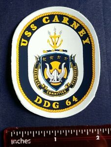 USS Carney DDG 64 Destroyer Navy Ship Crest Mini Sticker Decal Resolute Committe