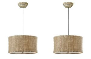 PAIR FARMHOUSE LODGE NATURAL TWINE HANGING PENDANTS SHADE CHANDELIER LIGHT