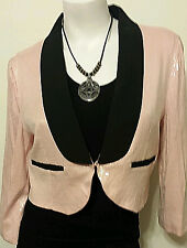 EUC JUNIOR'S PALE PINK CROPPED SEQUINNED DRESS JACKET FROM WET SEAL SZ XL