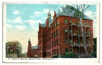 1923 St. Joseph's Hospital, Broad Street, Providence, RI Postcard