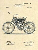 1901 Motorcycle Official US Patent Art Print - Vintage Harley Early Indian 205