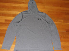 UNDER ARMOUR HEATGEAR GRAY LOOSE LIGHTWEIGHT HOODIE MENS LARGE EXCELLENT COND.