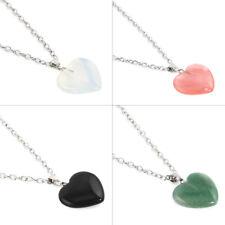 Natural Quartz Healing Point Chakra Stone Rock Pendant Gemstone Heart Necklace