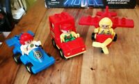 3 VINTAGE DUPLO VEHICLES WITH FIGURES NO 2 RACE DRIVER ZOO KEEPER AEROPLANE