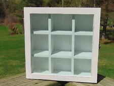 Small Wood White Distressed Curio Cabinet Table Top Cupboard 9,5 X9.5 Glass Door