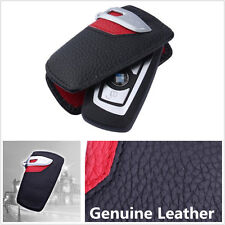 Genuine Leather Key Case Bag Cover Sport Line For BMW 2 3 5 7Series X3 Black Red