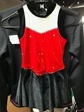 Ice Fairy red black crystals ice figure skating dress girl large 10