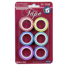 Icon Craft Decorative Paper Gift Wrap Tape - Floral - Pack of 6, 5 Meters