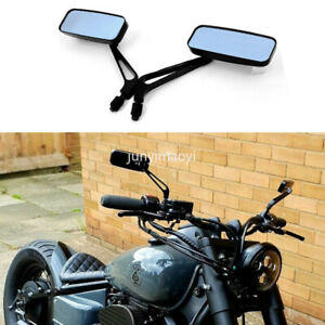 E-Bro Classic Black Motorcycle Mirrors 8mm//10mm Thread Rear View Mirror For Harley XL 883 1200 Iron 883 Road King Rectangle