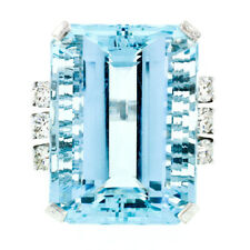 Large 14k White Gold 42.42ctw GIA Aquamarine & Round Diamond Statement Ring