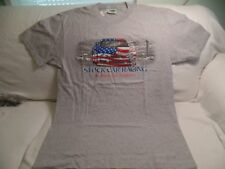 NEW WITH TAG J.E.S. CALIFORNIA STOCK CAR RACING MENS SZ LG GRAY, RED,WHITE. BLU.