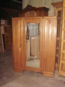 French 1940's/1950's Art Deco 3 door wardrobe/armoire