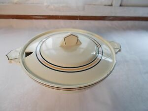 Vintage Imperial Royale Belgium Soup Tureen Serving Bowl Beige Black Orange