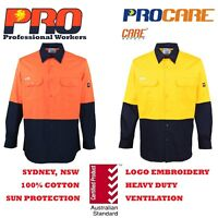 1 pack Hi Vis Work Shirt vented cotton drill long sleeve Safety WORKWEAR Uniform