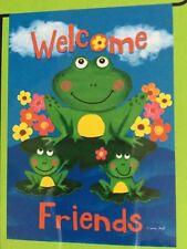 "Small 12 1/2"" x 18"" Welcome Friends Spring Summer Theme Garden Art Flag New"