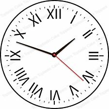 Plain Roman Numerals Clock Face Background Pattern Edible Icing Cake Topper