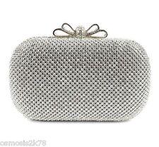 Silver Diamante Diamond Crystal Bow Evening bag Clutch Purse Party Prom Wedding