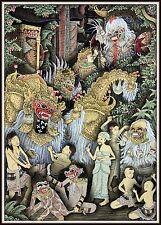 """Keliki Kawan Miniature Traditional Painting from Bali"" Signed (6 3/8""H x 4.5""W)"