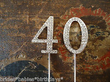 Birthday Cake Topper Rhinestone Crystal Anniversary Silver 40th cupcake decorate