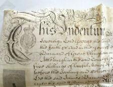 Vellum 1769 Indenture Red Seal Signatures Tax Stamp. King George III Neat Script