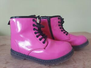 Girls Lily & Dan Patent Bright Pink Lace up Boots Size 12