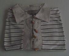 Maglietta Polo chiusura con alamari, beige a righe marroni, cotone e lino, tg XL