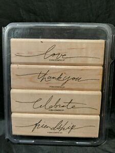 Stampin Up! Wonderful Words Wood Mount Rubber Stamps Set Of 4