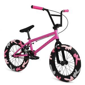 "Elite 16"" BMX Pee Wee Bicycle Freestyle Bike 1 Piece Crank Pink Combat NEW"