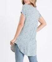 Cool Melon Ivory Floral Short Sleeve V-Neck Tunic (Gray, L)