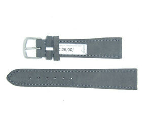 """FLUCO (Germany) Genuine Suede Leather Watch Band Strap 19 mm Grey """"Velour"""""""