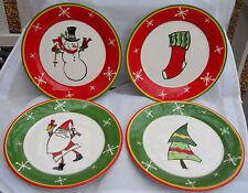 BELLA CASA GANZ HOLIDAY CHRISTMAS SALAD PLATES 4 NEW SOCK TREE SNOWMAN SANTA CL