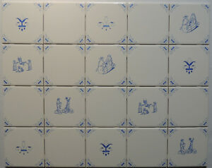 Blue and White Delft Style Dutch Kitchen Tiles