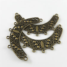 18pcs/lot Antique Bronze Hollow Half Moon Alloy Pendants Charms Connector 52419