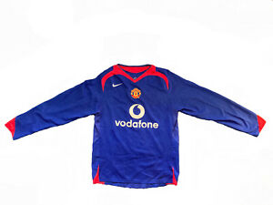 Nike 2004-2006 Manchester United Long Sleeve Blue Jersey - Small