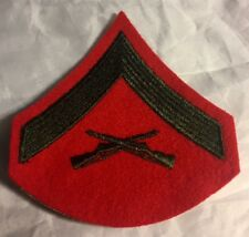US MARINE CORPS E-3  LCpl LANCE CORPORAL CHEVRON PATCH RED GREEN RIFFLE   USMC