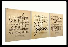 "HARRY POTTER Quotes - Set of three 10"" Mounted Square Canvas Pictures Prints"