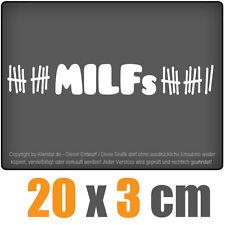 MILFs 20 x 3 cm JDM Decal Sticker Auto Car Weiß Scheibenaufkleber
