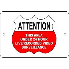 """Attention - Live/Recorded Video Surveillance Sign Aluminum Metal 12""""x 8"""" Sign"""