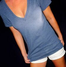 Victorias Secret VS womens cotton chambray blue pink S tee shirt top sexy