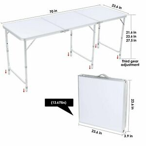 6ft Picnic Portable Folding Camping Table Aluminium Adjustable Party BBQ Outdoor