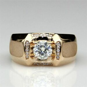 2.00 Ct Round Cut Diamond Mens Engagement Ring Wedding Band 14K Yellow Gold Over
