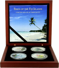 NIB Birds Of Fiji Fine Silver Proof .999 Set 2007 New Zealand Mint 4 Coins 2$