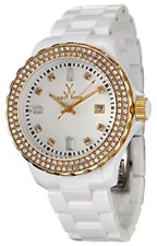 NWT ToyWatch Women's PCLS25PG Gold/White Crystal Plasteramic Watch