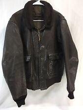 Vintage USN Intermediate G-1 Brown Leather Bomber Jacket Vietnam Era Flying Mens